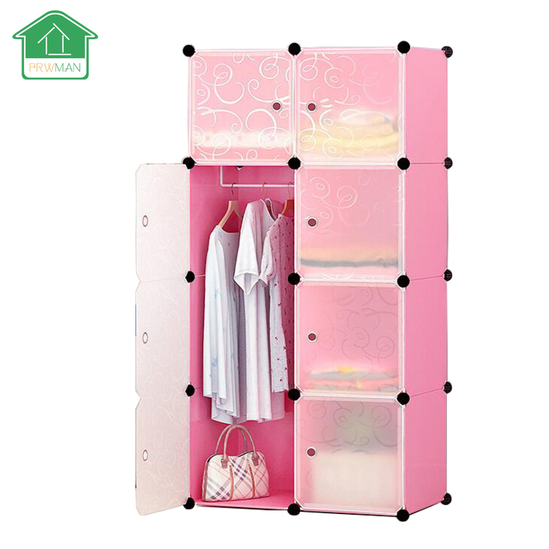 PRWMAN 8 Cube 1PC Hook DIY Pink Piece of Resin Storage Cabinets Bedroom Wardrobe Furniture Assembly Dormitory Student Wardrobe
