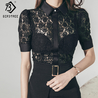 Korean 2018 Summer Sexy Short Sleeves Women S Lace Patchwork Shirts Vintage Turn Down Collar Black