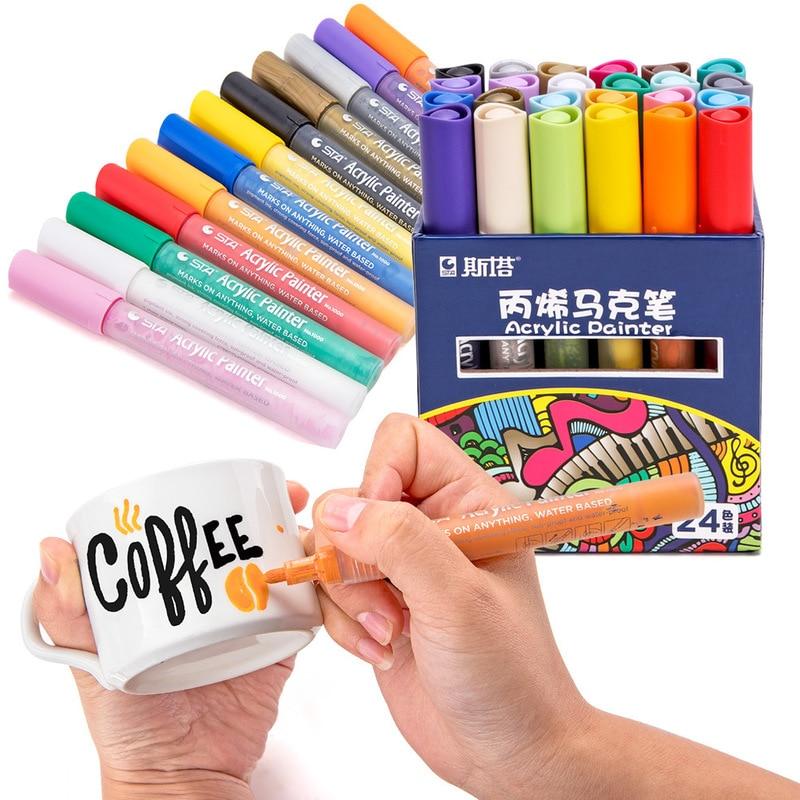 цена на STA 12/24 Color Creative Acrylic Marker Pen, Highlighter Waterproof Hand DIY Paint Marker Pen for For Art Design School Supplier