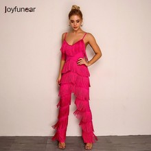 Joyfunear Solid Tassel Body Mujer Bodycon Long Sexy Elegant Backless V Neck Rompers