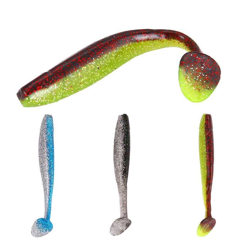 1Piece <font><b>120mm</b></font> 9g Artificial Silicone Soft Bait Worm Sharimp Fishing <font><b>Lure</b></font> With Bass Hook For Sea River Fishing Tackle Pesca image