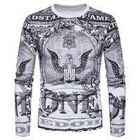 Fashion 3D Eagle Print T Shirt Men 2018 Spring New Funny T Shirts Mens Slim Fit