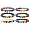 Muti-color Para Hombre Pulseras de la Turquesa Negro Lava 7 Chakra Healing Reiki Equilibrio Pulsera de Las Mujeres Yoga Oración Pulsera de Piedras
