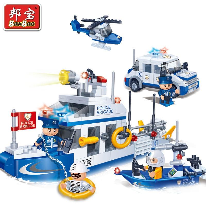 Banbao 8342 Police Coast Guards ship and Helicopter 418pcs Building Block Sets Educational DIY Bricks Toys