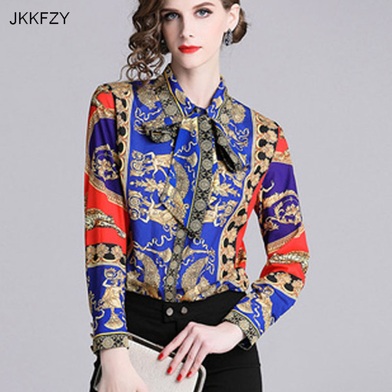 JKKFZY Women Shirt Elegant Casual Blouse 2018 Autumn Winter New Ladies Long Sleeve Tops Turn-down Collar Shirt