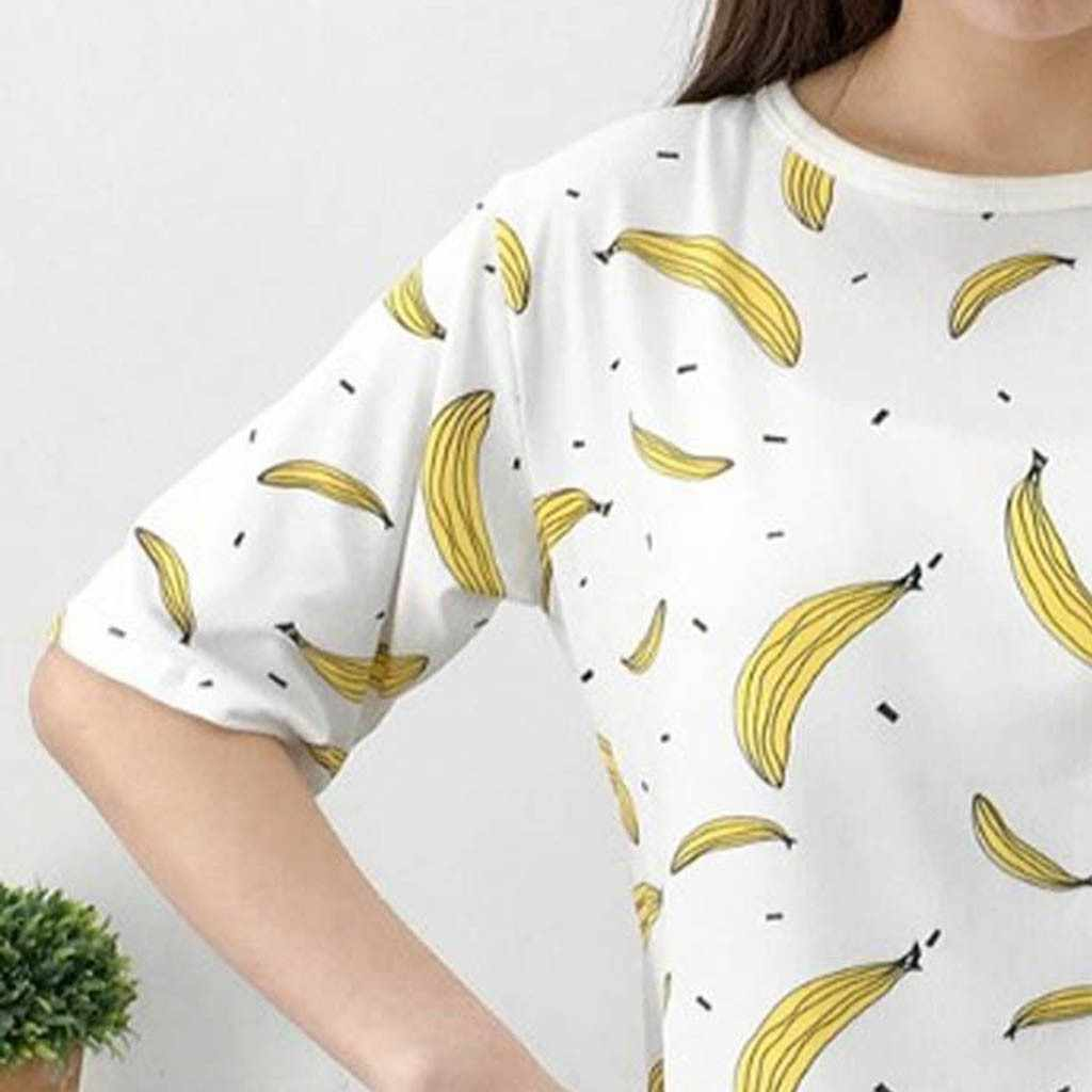 Blusas mujer de moda 2019, женская блузка, рубашка, женская модная Повседневная рубашка с круглым вырезом и коротким рукавом, банановые топы, свободная блузка bluz