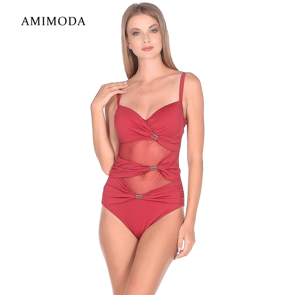One-Piece Suits Amimoda F6889-10 sportswear accessories fused joint swimsuit for women striped low back one piece swimsuit