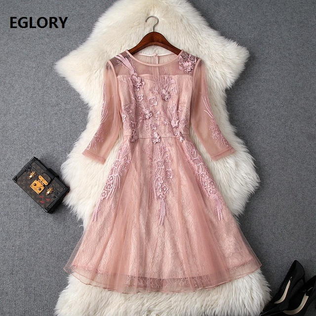 High Quality Brand Lace Party Event Dresses Women Appliques Embroidery Beading 3/4 Sleeve Slim Fitted Pink Red Dress Festival