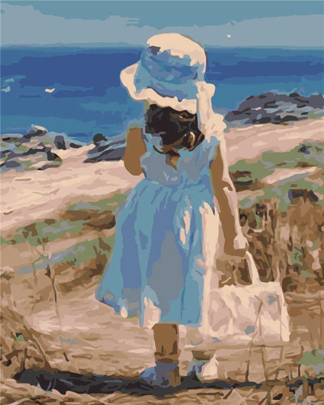 Beach Children Back DIY Painting By Numbers No Frame Drawing Kits Paint On Canvas Unique For Home Wall Art Picture Hand Painted
