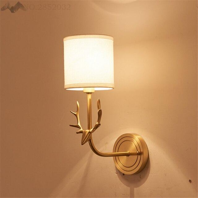 LFH Moderne Antler Applique Murale Paroi De Cuivre Lampes Tissu Ombre clairage Salon Restaurant Chambre H.jpg 640x640 5 Superbe Applique Murale Tissu Gst3