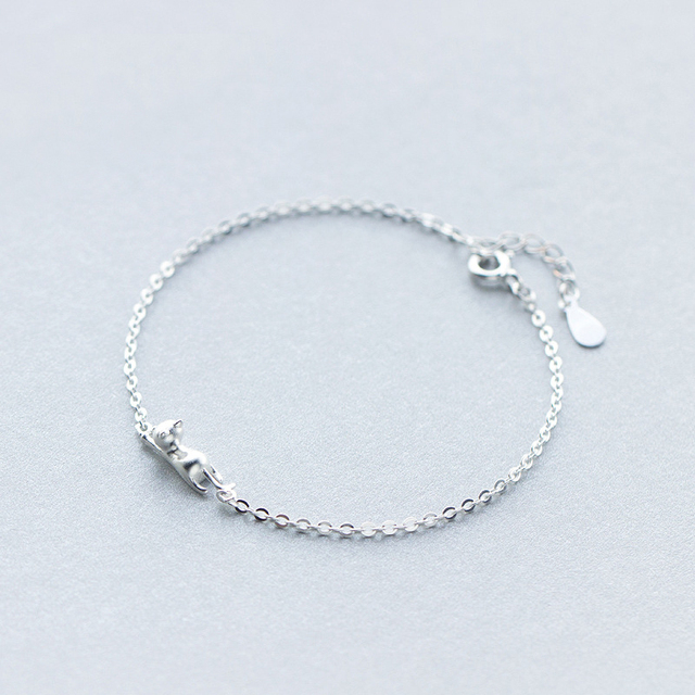 MloveAcc 925 Sterling Silver Cute Cat Bracelets for Women High Quality Fashion Girl Gift Prevent Allergy Sterling Silver Jewelry