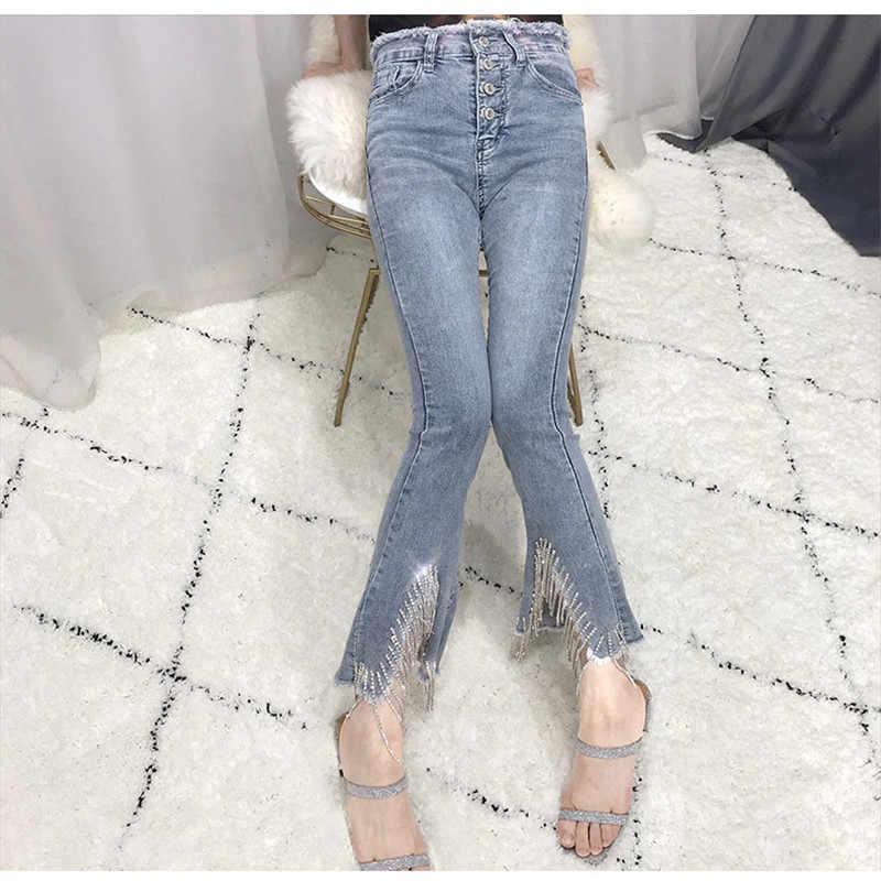 Mujer strass cuentas borla cadena Flare Jeans 2019 nuevo mujer Delgado Botón de cintura alta elástico Denim tobillo-longitud Pantalones fiesta