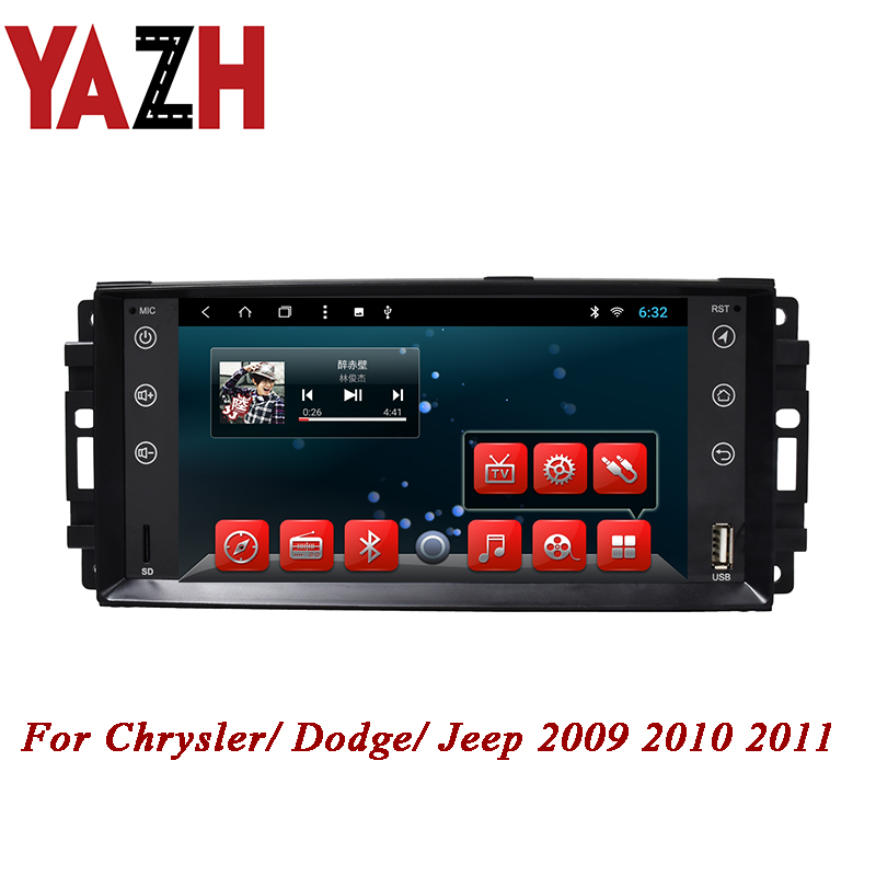 YAZH 1 Din 1080*600 IPS display Car Stereo Auto Radio For Chrysler/ Dodge/ Jeep 2009 2010 2011 Android 2GB 32GB GPS Navigation image