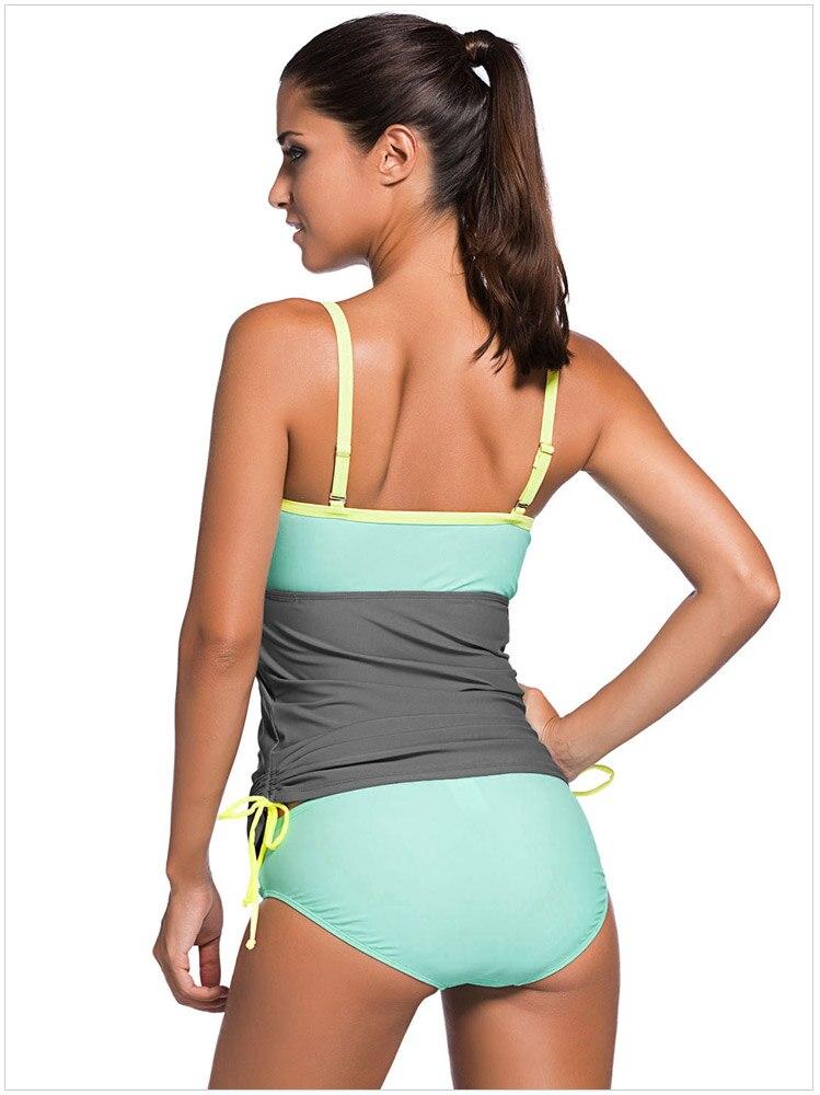 2018 Sexy Plus size Women Color Block Tankini Swimsuit Women 2pcs Swimwear Padded Bathing Suits Female Beach Wear XXL 2