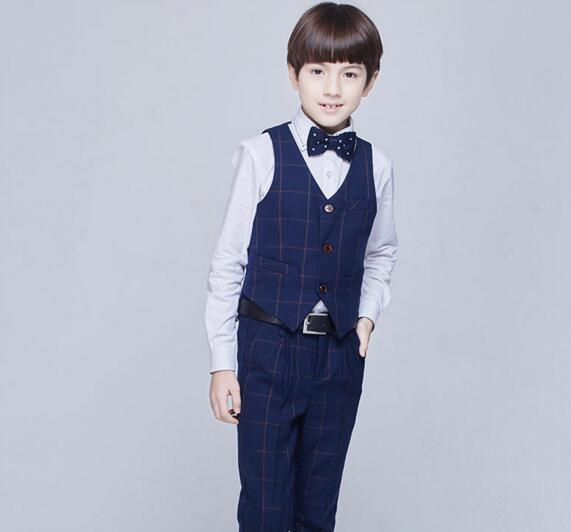 2017 autumn kids plaid school suit for boys england style boys formal wedding vest blazer suit boys prom suit party tuxedos boy blazer suit 2018 boys 3pcs plaid formal wedding suit vest coat pant brand children party tuxedos performance wear for boys