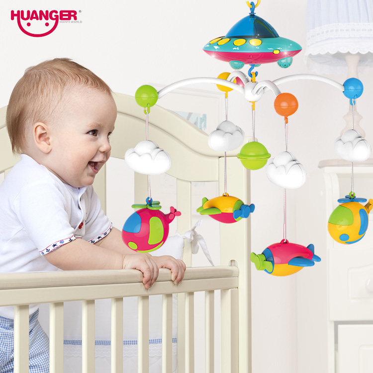 Huanger Baby bed bell toy rotating music hanging rattle bracket set baby crib mobile holder for newborn 0-12months baby toys baby musical crib mobile bed bell baby hanging rattles rotating bracket projecting toys for 0 12 months newborn kids gift