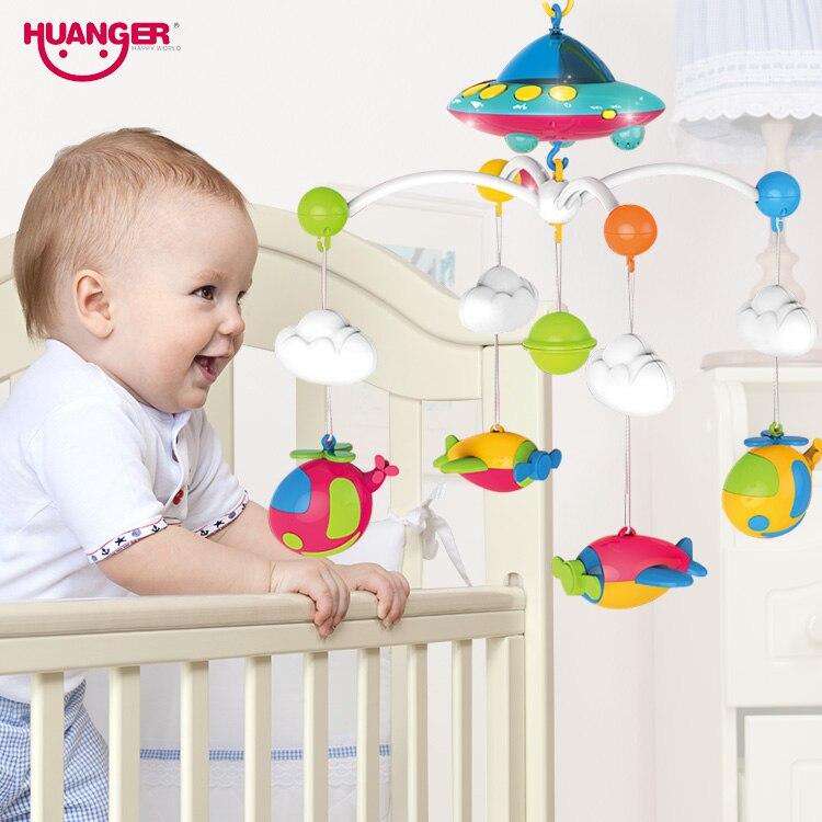 Huanger bébé lit cloche jouet rotatif musique suspendus hochet support ensemble bébé berceau support de téléphone portable pour nouveau-né 0-12 mois bébé jouets