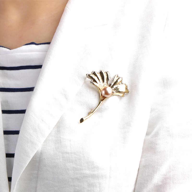 FUNMOR имитация жемчуга форма кленового листа Броши для женщин Серебряный цвет винтажная Хрустальная брошь корсаж воротник зажим нагрудные булавки