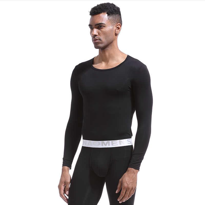Hiver chaud Long Johns ensemble pour hommes Ultra-doux couleur unie mince sous-vêtement thermique ceinture mâle hiver bas chaud pyjamas