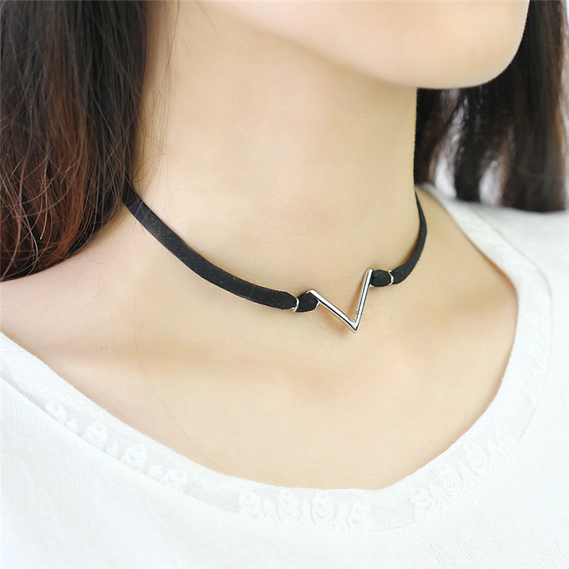c504a926eb73 2017 Vintage Gold Silver Velvet Suede Choker V Pendants Necklaces Women  Punk Black Leather Chocker Necklace Collares Mujer-in Choker Necklaces from  Jewelry ...