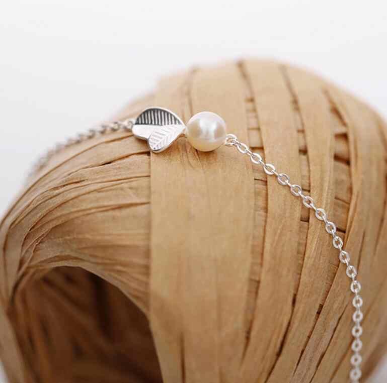 ANENJERY, 925 пробы, серебряные ювелирные наборы, бутон, лист, имитация жемчуга, ожерелье + серьги + браслет для женщин, корейские ювелирные изделия