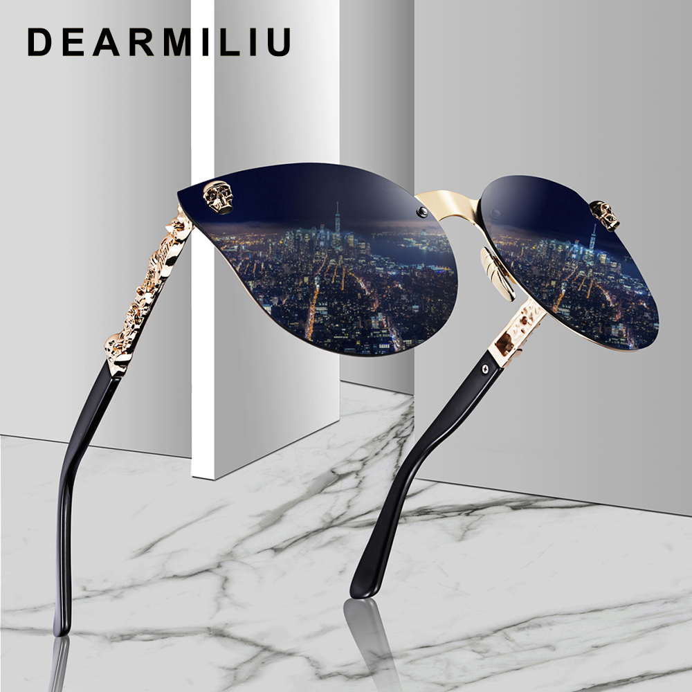 DEARMILIU Mulheres Da Moda olho de Gato óculos de Sol Armação De Metal Templo Do Crânio Gótico do Ouro óculos de Sol Oculos de sol Feminino mulheres De Luxo