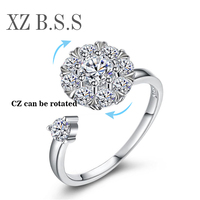 Rotating Ring Design Sparking Clear CZ Crystal Adjustable Engagement Rings For Women Real 925 Sterling Silver