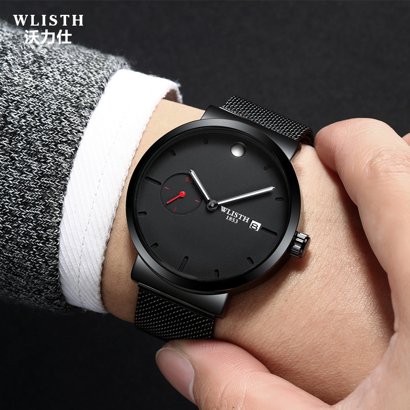 WLISTH New business quartz watches men's large dial watch brand fashion watch miguel bracelet watches Classic black steel Clock все цены