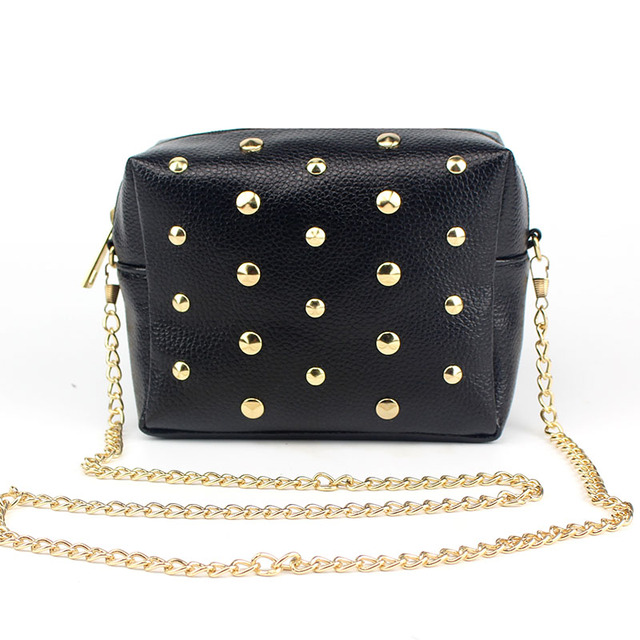 906fa2189a Crossbody Bags for Women Shoulder Bag Rivet Chains Small Mini PU Leather  Mobile Phone Trunk Messenger Bags LXX9