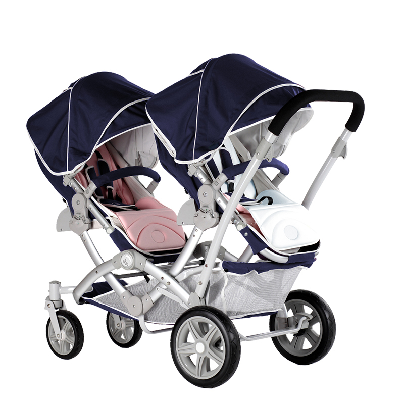EU high quality twin Baby Stroller Multi-functional luxury  Two Child Stroller newborn baby Sitting And Lying Twins Cart hk free high quality export baby twin stroller purple 4 colors in stock four season use twin kids baby car