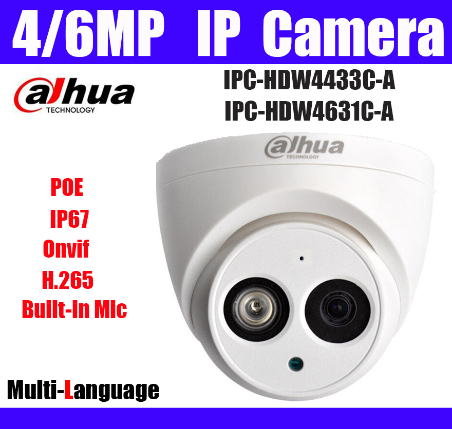 Poe-Ip-Camera Ipc-Hdw4631c-A-Logo Dome Built-In IP67 Mic H.265 Replace 4MP Original title=