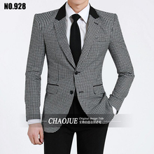 S-6XL!!  2017  male spring and autumn fashionable casual suit color block long-sleeve slim   Big yards men's clothing
