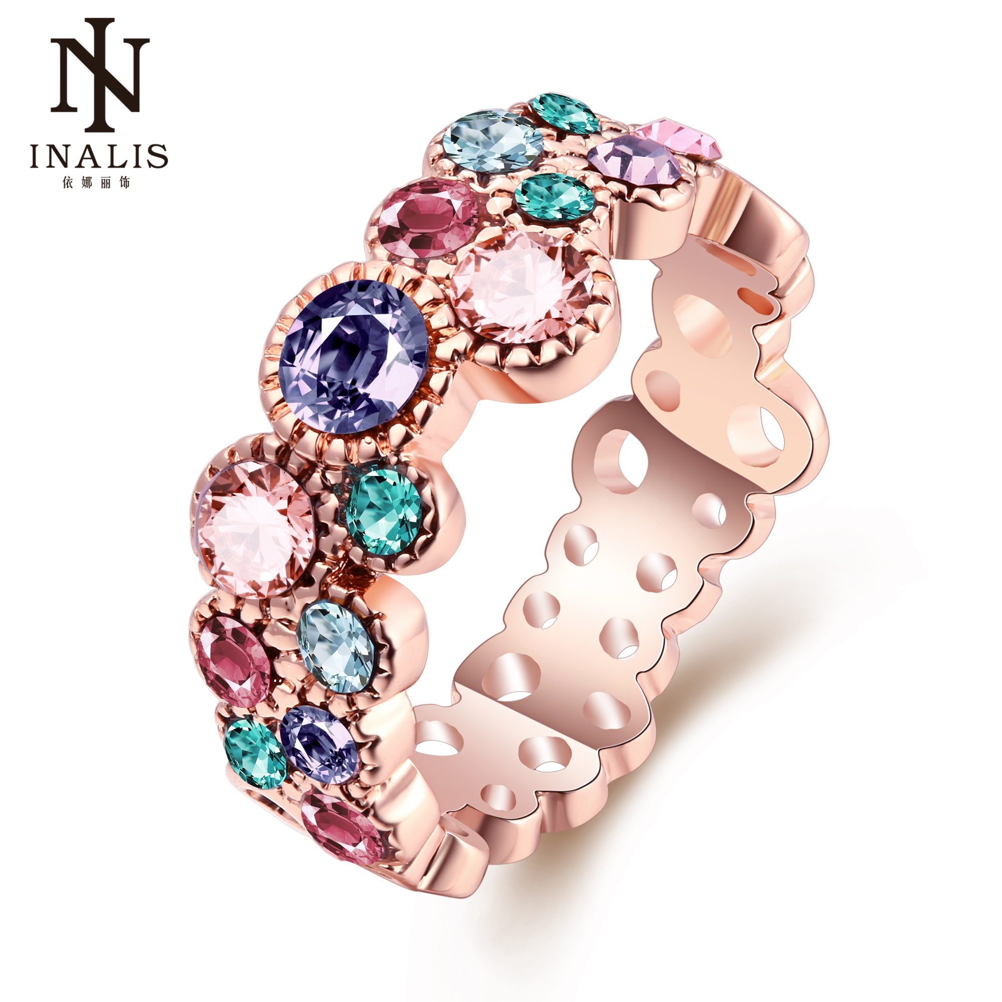 INALIS Unique Design Rose Gold Color Ring for Female Wedding with AAA Colorful Cubic Zircon Bijouterie