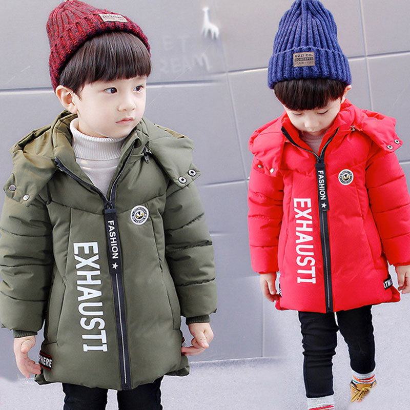 2018 New Boys Hooded Letters Design Thick Warm Winter Jacket Coats Solid Color Winter Parkas2018 New Boys Hooded Letters Design Thick Warm Winter Jacket Coats Solid Color Winter Parkas