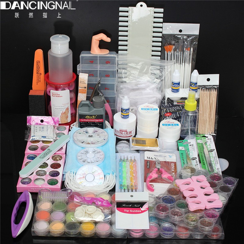 ФОТО Professional Acrylic Liquid Nail Art Brush UV Gel Glue Glitter Powder Sanding Buffer Nails Tool Manicure Set Kit Tips