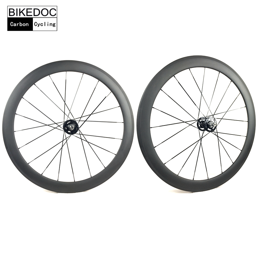 BIKEDOC Carbon Track Wheels 700C Fixed Gear Wheel 50MM Clincher Carbon Wheel Toray 700 track frame fixed gear frame bsa carbon 1 1 2to 1 1 8 bike frameset with fork seatpost road carbon frames fixed gear frameset