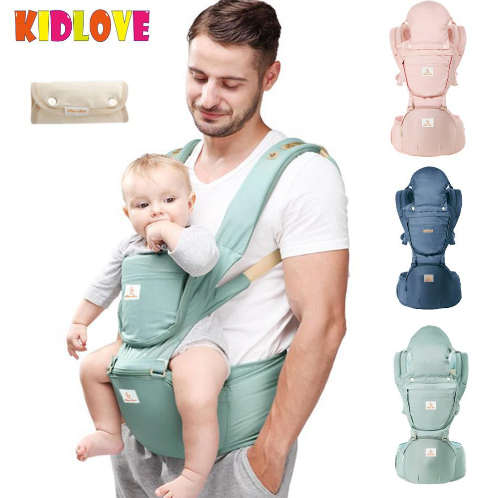 Kidlove Infant Toddlers Baby Safe Ergonomic Baby Carrier with Hip Seat for Adjustable Breathable Waistband+1 Pair Pinafore