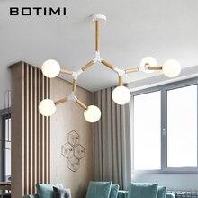 BOTIMI Creative נורדי LED נברשת עם זכוכית כדור לסלון חדר שינה עץ נברשות G9 גופי תאורה מקורה