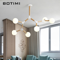 BOTIMI Creative Nordic LED Chandelier With Glass Ball For Living Room Bedroom Wooden Chandeliers G9 Indoor Lighting Fixtures