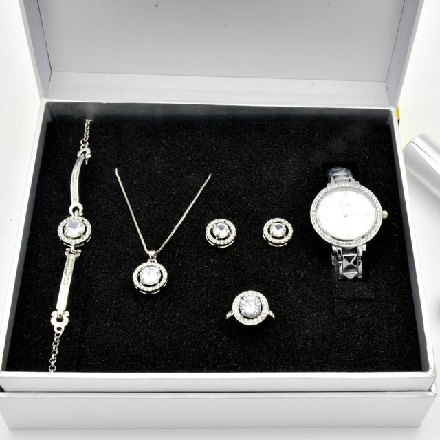 Women's Quartz Watch Set Luxury Five-piece Bracelet Necklace Ring Earrings Birth