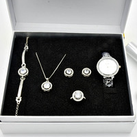 Women's Quartz Watch Set Luxury Five piece Bracelet Necklace Ring Earrings Birthday Gift Fashion Valentine's Day Gift with Box