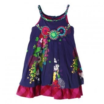 ФОТО Hot 2016 summer French brand child sleeve-less dress European&American style floral sundress kids braces brand dress