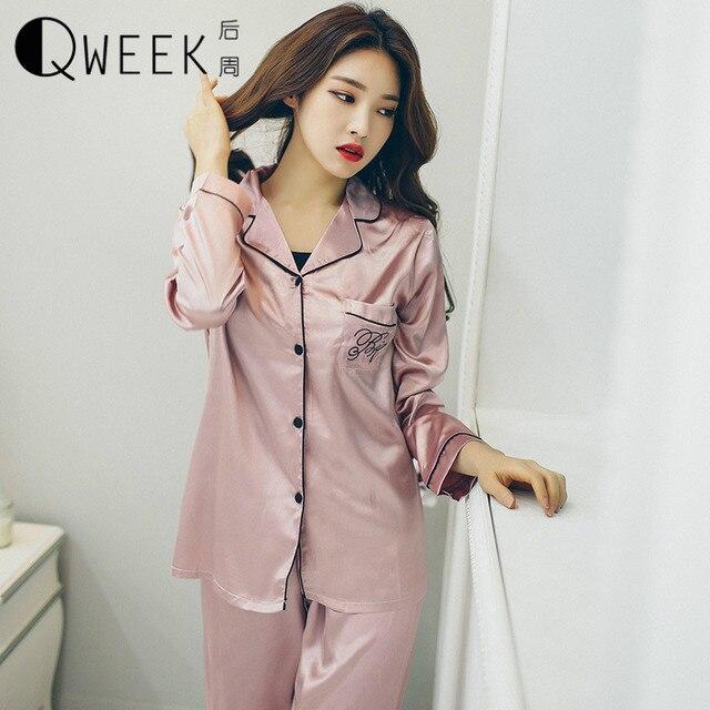 8d9df5ad9910 Одежда для сна QWEEK атласные шелковые пижамы набор Для женщин с длинным  рукавом Топ и штаны