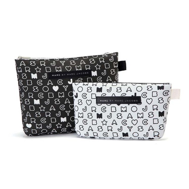 Free shipping! Simple and elegant black and white letters thicker cloth bag Cosmetic Pouch PIP 2 sets