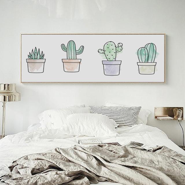 Moderno simple planta de cactus niños pintando larga bandera a4 lienzo art poster nordic dormitorio foto decoración de la pared no frames