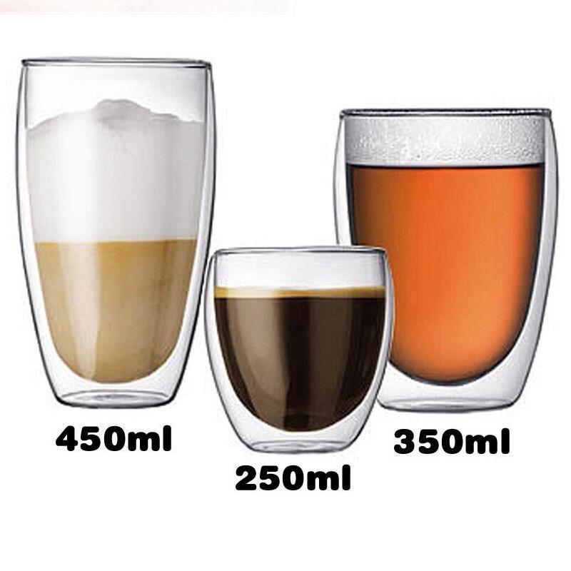 1pc Double tasses à café boire isolation Double paroi verre tasse à thé cadeau créatif Drinkware verre champagne