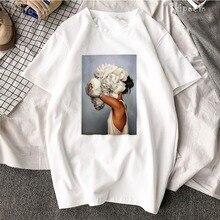 цены Tshirt Women Sexy Flowers Feather Print Short Sleeve Tops & Tees Fashion 2Harajuku Aesthetics Casual Aesthetic Tee