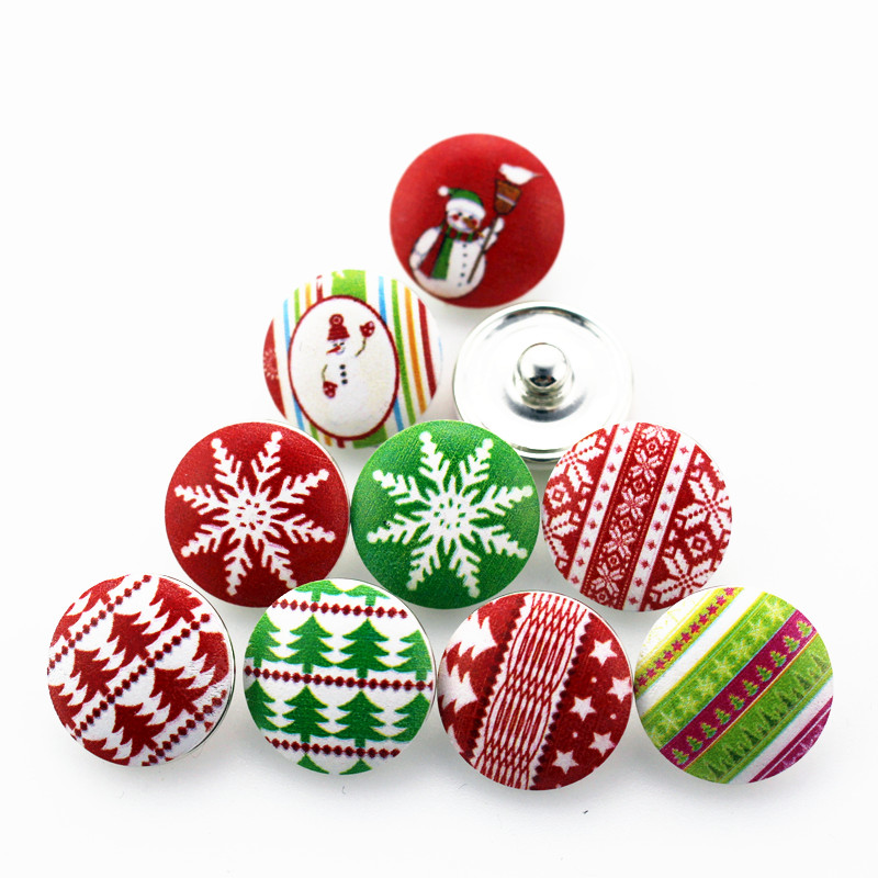 12pcs/lot mix christmas series wood snap button round glass snap charms fit 18mm snap DIY jewelry bracelet bangle button