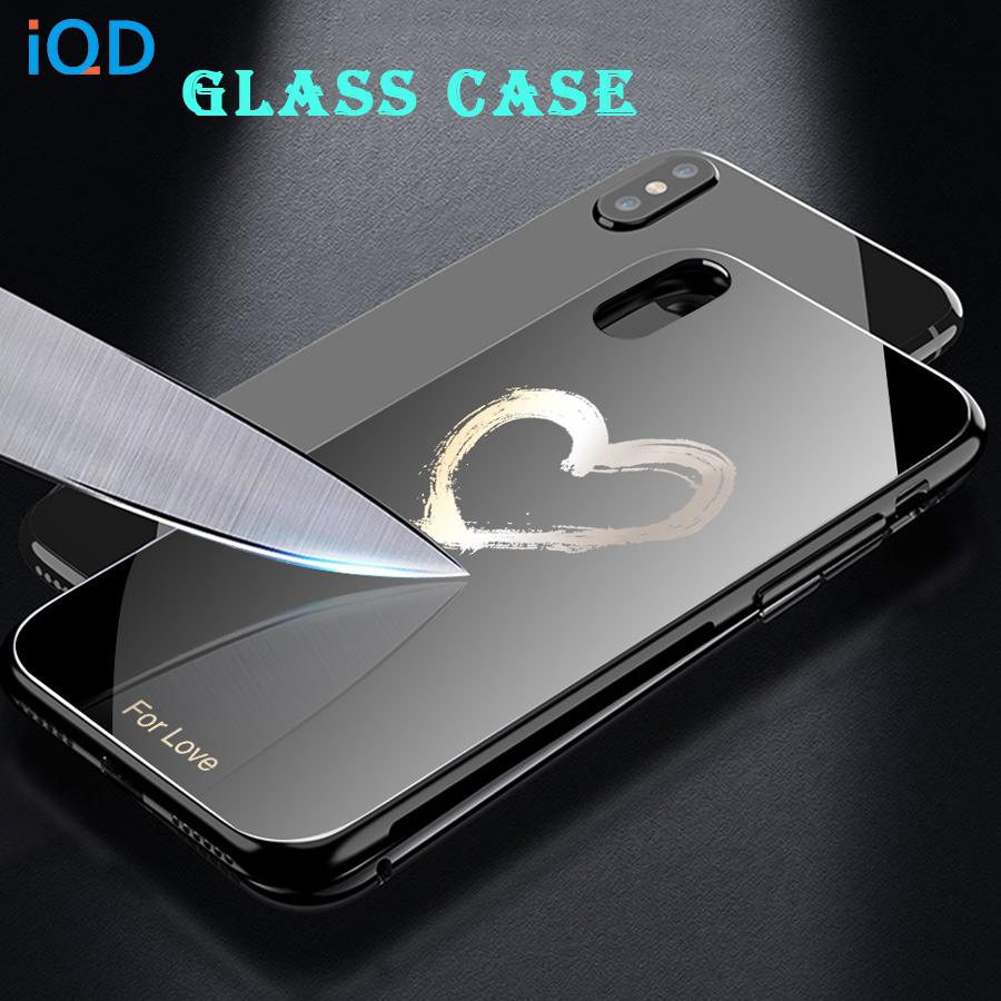 IQD Ultra Thin Painted pattern Glass Phone Case For iPhone X XS Max XR 8 7 6 6S Plus TPU Bumper Protective back Cover