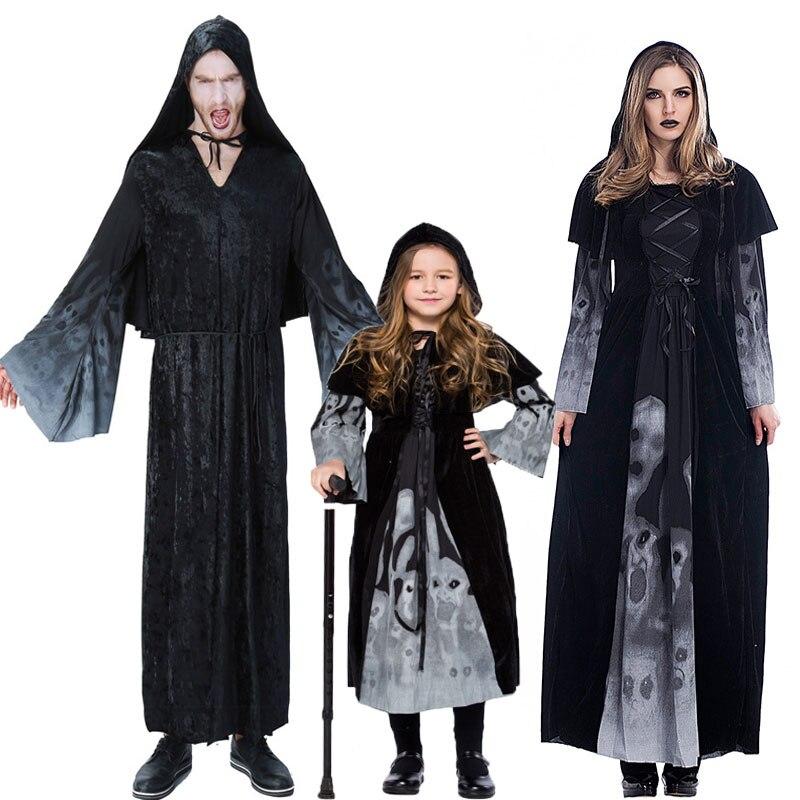 Umorden Family Spooky Forgotten Souls Costumes Grim Reaper Costume for Men Women Kids Halloween